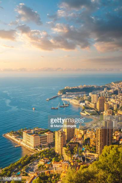 high angle view of monaco cityscape at sunrise - monte carlo stock pictures, royalty-free photos & images