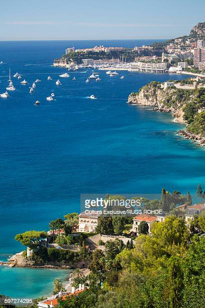 High angle view of Monaco in distance from Roquebrune, France