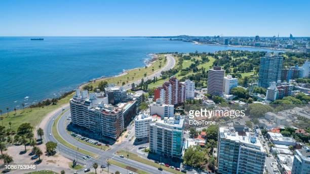 high angle view of montevideo's coastline, drone point of view, punta carretas neighbourhood, uruguay - montevideo stock pictures, royalty-free photos & images