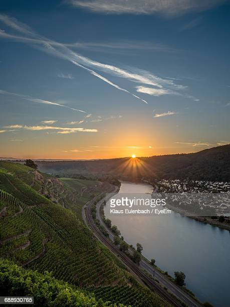 high angle view of moselle river at sunset - moselle stock pictures, royalty-free photos & images