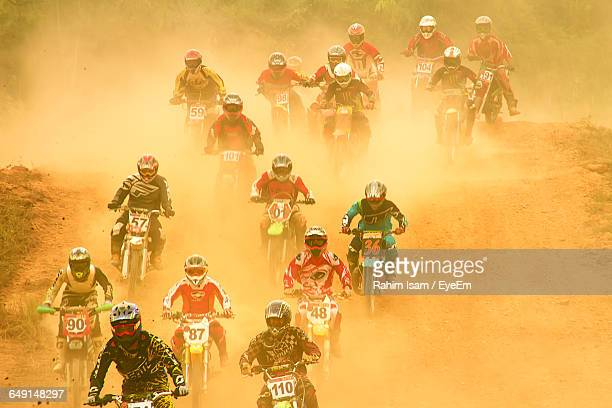 High Angle View Of Motocross Race