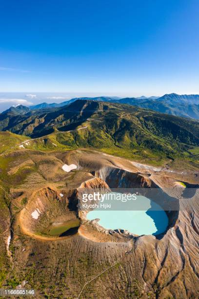 high angle view of mount shirane, an active volcano in gunma, japan - volcanic crater stock photos and pictures