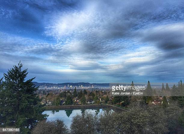 High Angle View Of Mount Tabor Against Cloudy Sky