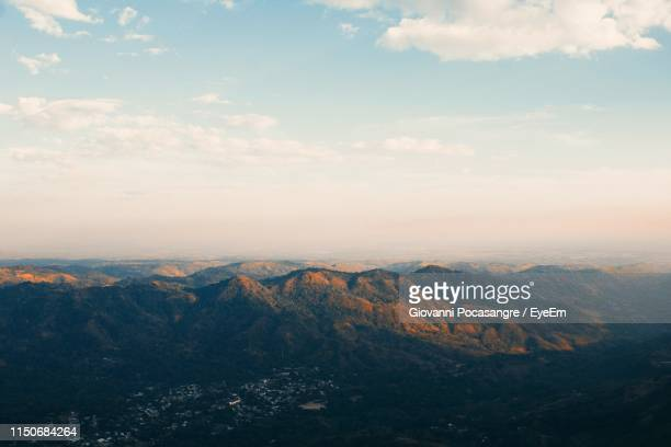 high angle view of mountain range against sky - el salvador stock pictures, royalty-free photos & images