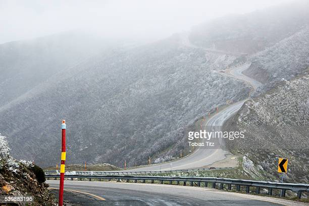 High angle view of mountain road in foggy weather