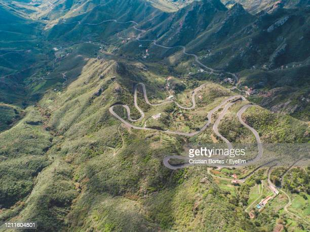 high angle view of mountain road - bortes stock pictures, royalty-free photos & images
