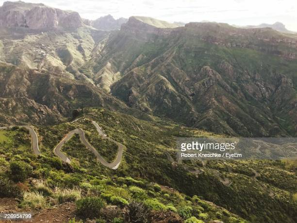 high angle view of mountain road - tejeda canary islands stock pictures, royalty-free photos & images