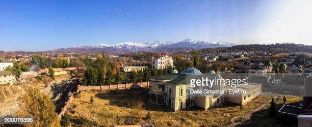 High Angle View Of Mountains Against Clear Blue Sky
