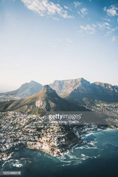 high angle view of mountains against sky - cape town stock pictures, royalty-free photos & images