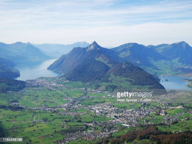 high angle view of mountains against sky - schwyz stock pictures, royalty-free photos & images
