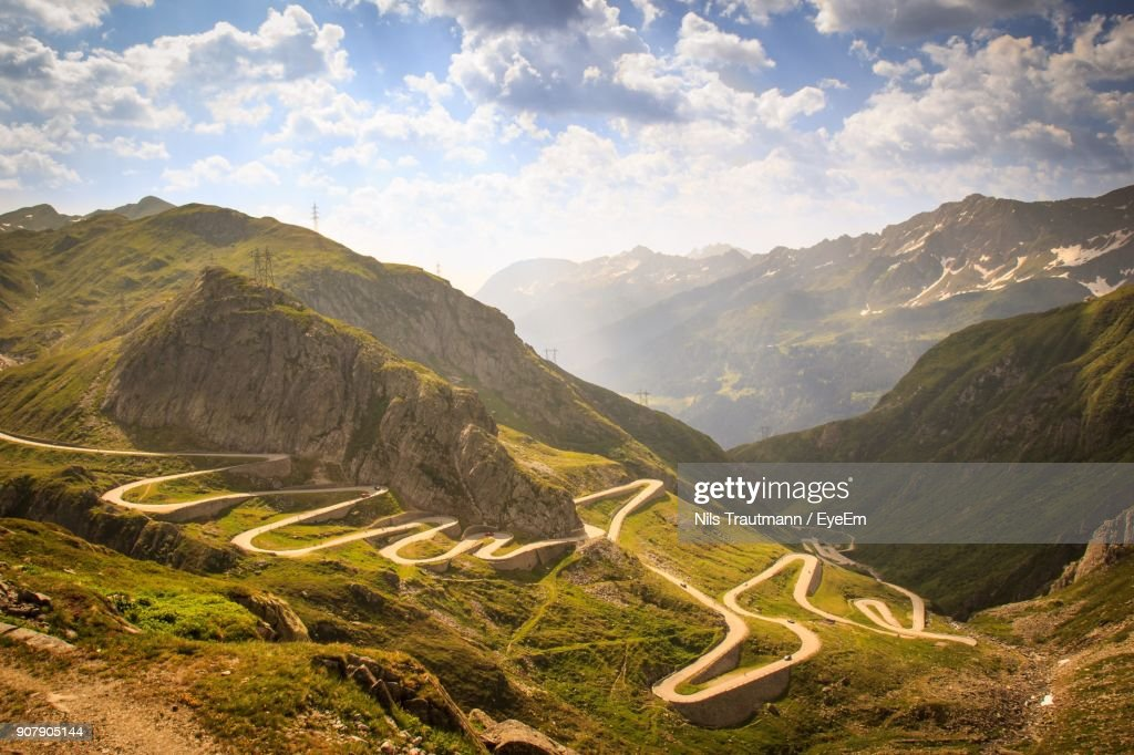 High Angle View Of Mountains Against Sky : Stock Photo