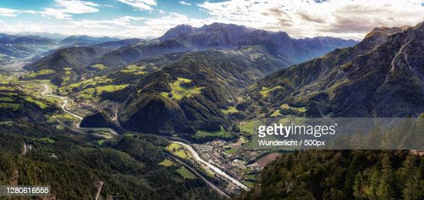 high angle view of mountains against sky,werfen,salzburg,austria - austria stock pictures, royalty-free photos & images