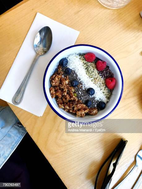 High Angle View Of Muesli On Table