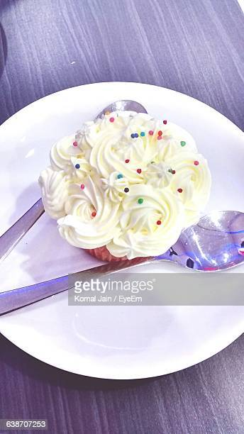 High Angle View Of Muffin In Plate On Table