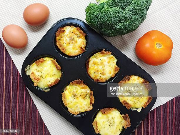 High Angle View Of Muffins In Tin