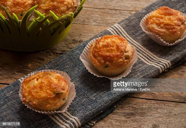 High Angle View Of Muffins On Table