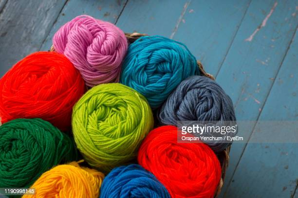 high angle view of multi colored candies - knitting stock pictures, royalty-free photos & images