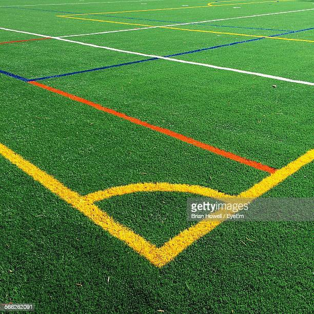 High Angle View Of Multi Colored Corner Markings On Soccer Field