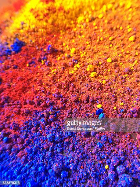 High Angle View Of Multi Colored Face Powders