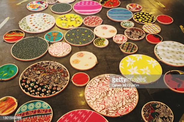 high angle view of multi colored objects - art and craft stock pictures, royalty-free photos & images