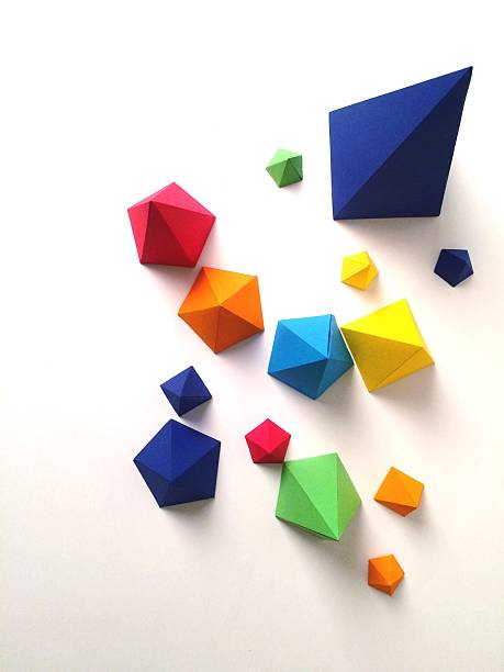 High Angle View Of Multi Colored Paper Pyramids Wall Art