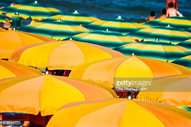 High Angle View Of Multi Colored Parasols