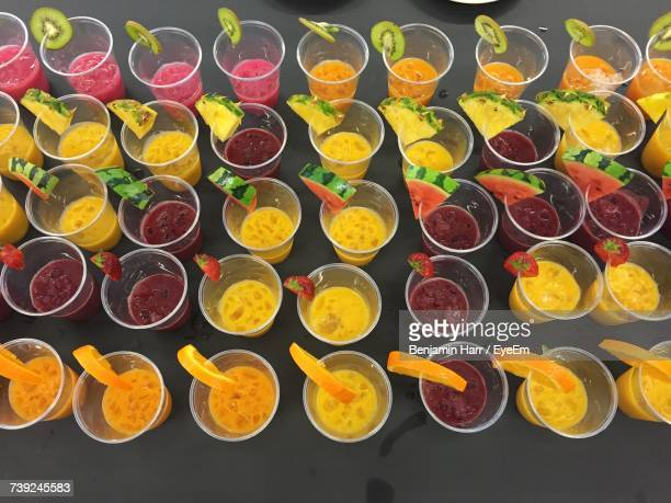 High Angle View Of Multi Colored Smoothies