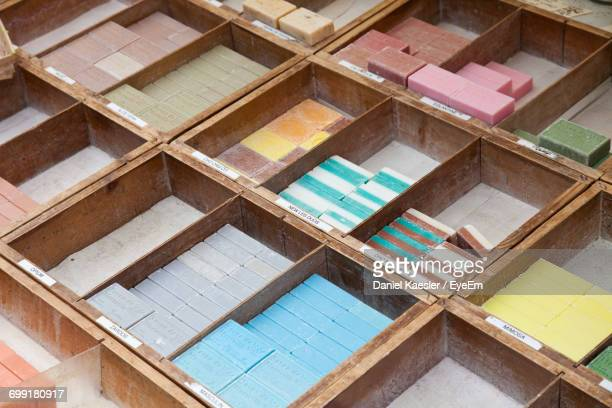 High Angle View Of Multi Colored Soaps For Sale In Market