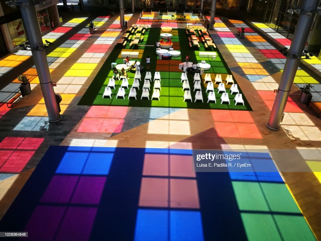 High Angle View Of Multi Colored Tiled Floor : Foto de stock