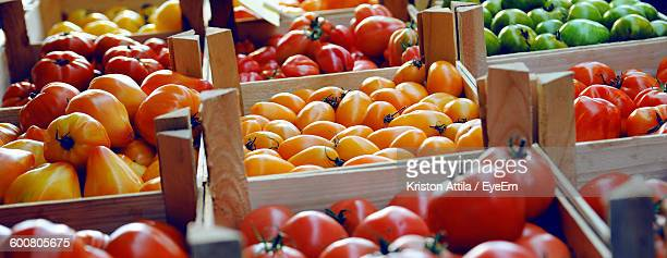 High Angle View Of Multi Colored Tomatoes For Sale In Market
