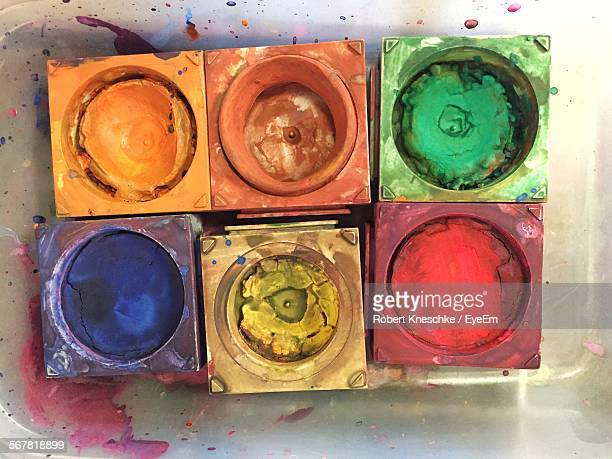 High Angle View Of Multi Colored Watercolor Paints In Workshop
