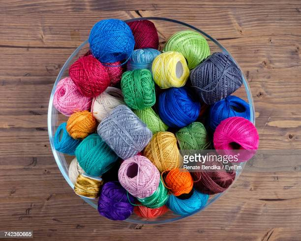 High Angle View Of Multi Colored Wool Balls