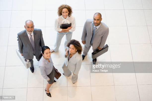 high angle view of multi-ethnic businesspeople - 5人 ストックフォトと画像