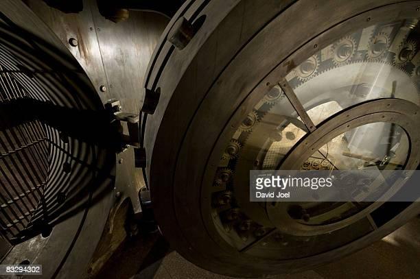 HIgh angle view of multi-ton bank vault door