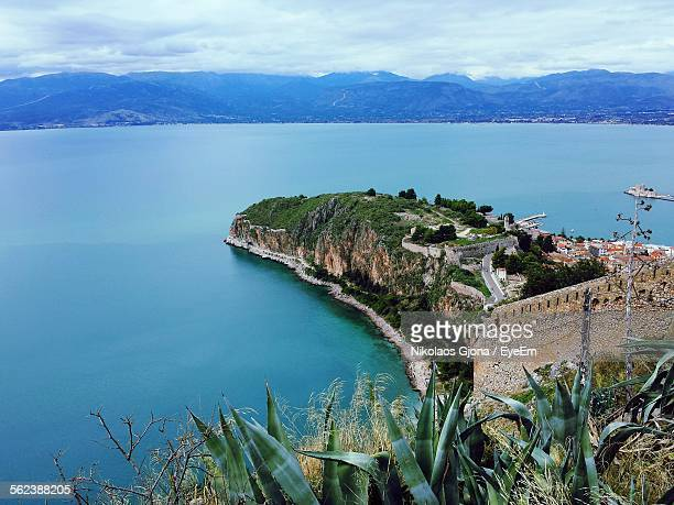 High Angle View Of Nafplio By Sea