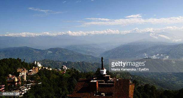 High Angle View Of Nagarkot And Mountains Against Sky