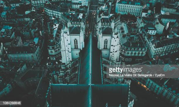 high angle view of nantes cathedral in city - kathedrale von nantes stock-fotos und bilder