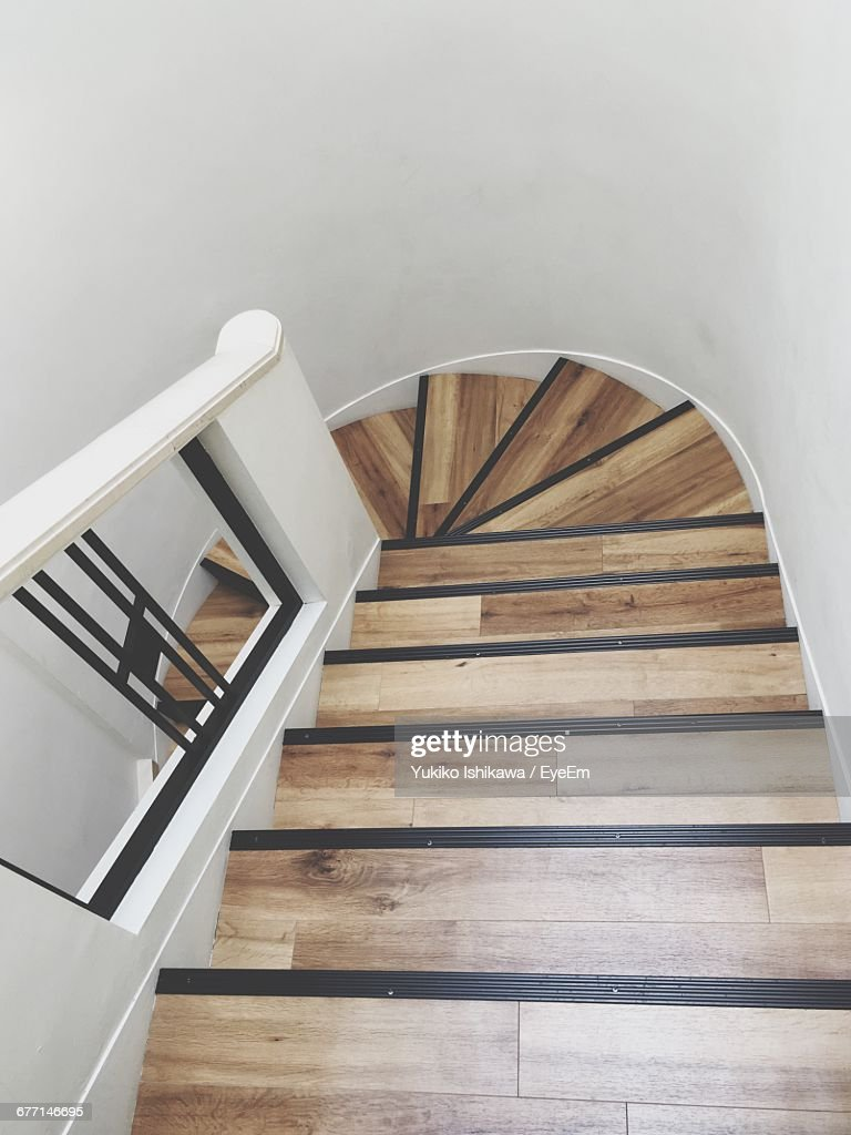 High Angle View Of Narrow Stairs Stock Foto Getty Images