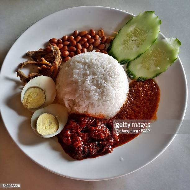 High angle view of nasi lemak