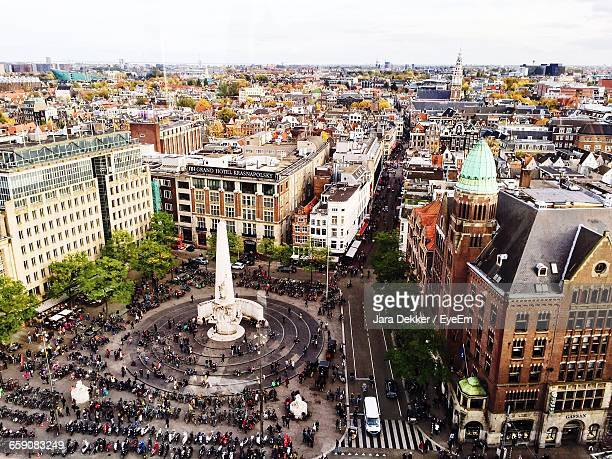 High Angle View Of National Monument At Dam Square
