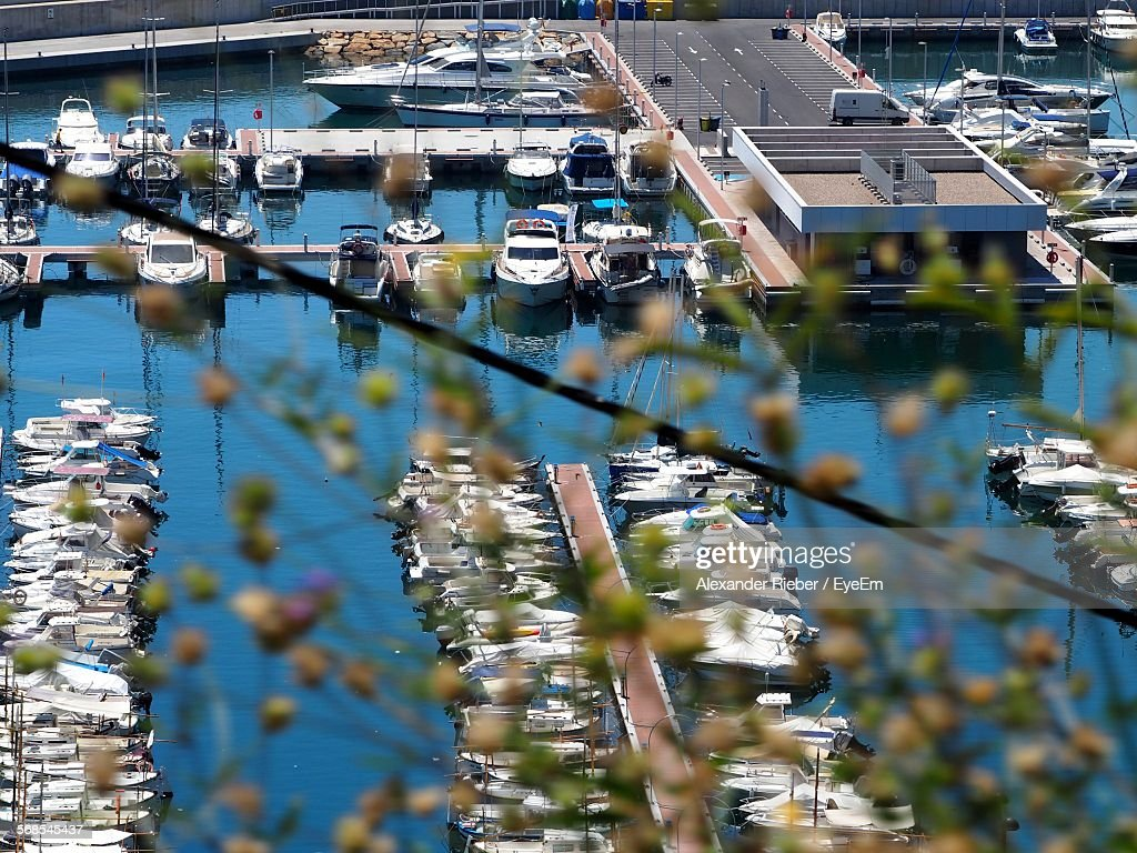 High Angle View Of Nautical Vessels Moored At Harbor : Stock Photo