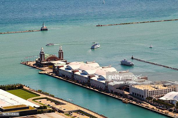 high angle view of navy pier - navy pier stock pictures, royalty-free photos & images