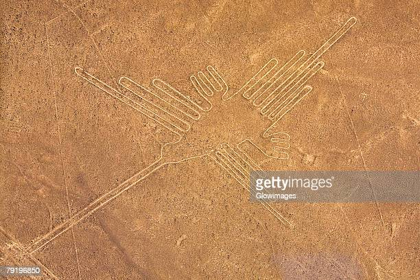 high angle view of nazca lines, nazca, peru - nazca lines stock pictures, royalty-free photos & images