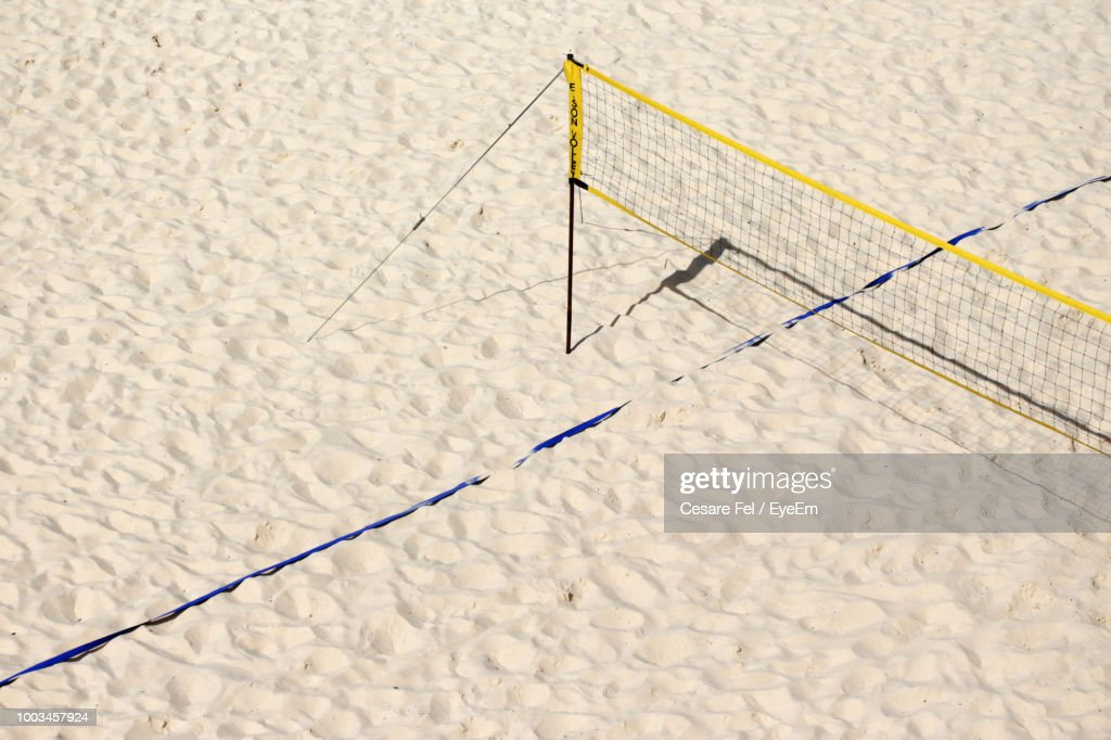 High Angle View Of Net At Beach During Sunny Day : Stock Photo