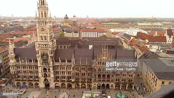 high angle view of new town hall - new town hall munich stock pictures, royalty-free photos & images