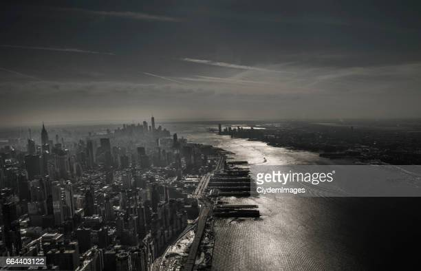 High angle view of New York City skyline via helicopter