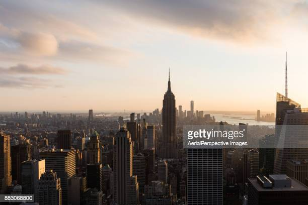 High Angle view of New York Skyline at Sunset