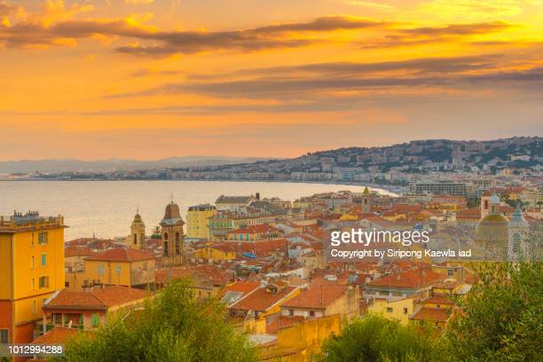 High angle view of Nice city at sunset, France.