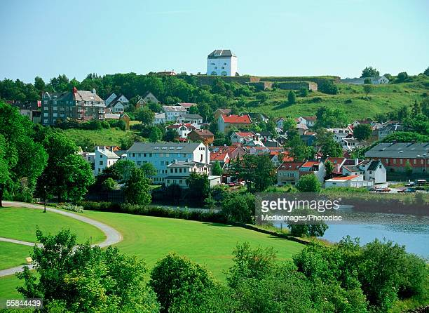 High angle view of Nidelva River, Trondheim, Norway