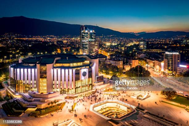 high angle view of night sofia, bulgaria. including nationa palace of culture - stock image - sofia stock pictures, royalty-free photos & images